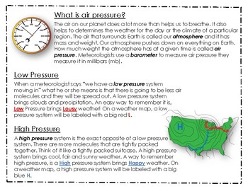 Air Pressure & Cloud Article with Graphic Organizer