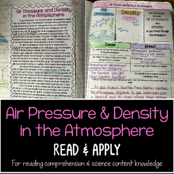 Air Pressure Density in Atmosphere Reading Comprehension I