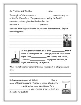 Air Pressure and Weather Note Taking