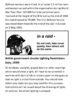 Air Raid Precautions Handout