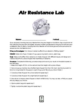 Air Resistance Lab Activity