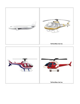 Air Transportation Matching Cards for Kids