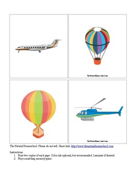 Air Transportation Matching Cards for Kids by The Natural Homeschool