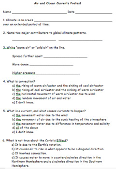 Air and Ocean Currents Pretest