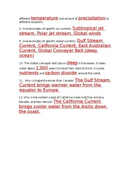 Air and Ocean Currents Study Guide