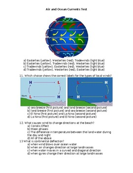 Air and Ocean Currents Test