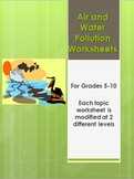 Air and Water Pollution Worksheets Webquest