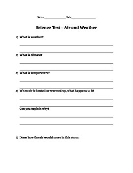 Air and Weather - Science Test