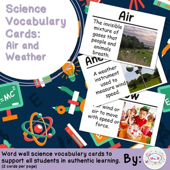 Air and Weather Science Vocabulary Cards (FOSS Air and Weather Module) Large