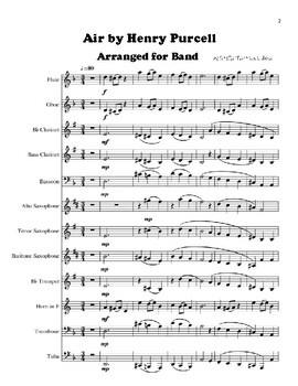 Air by Henry Purcell Arranged for Beginner Band - Score and Parts