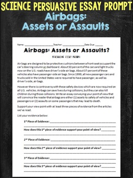 Airbags Persuasive Essay Physics Science Prompt