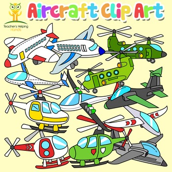 Aircraft Helicopter Jet Plane Aeroplane Flight Clip Art 40 images color and b/w