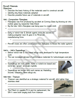 Aircraft Materials: PowerPoint, illustrated Student Guided Notes, Worksheet