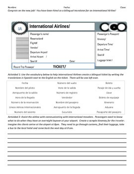 Airline Ticket & Itinerary Activity