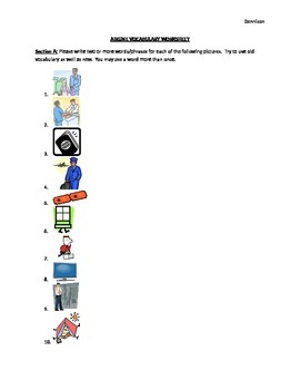 Airline Vocabulary Worksheet