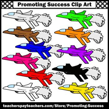 Airplane Clipart, Fighter Jets, Primary Colors SPS
