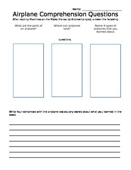 FREE!! Airplane Comprehension Questions