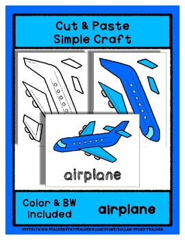Airplane  - Cut & Paste Craft - Super Easy perfect for Pre-K & Kindergarten