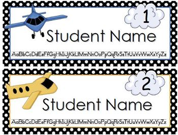 Airplane Editable Name Tags