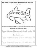 Airplane - Name Tracing & Coloring Editable Sheet - #60Cen