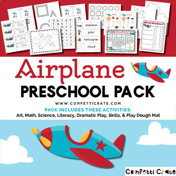 Airplane Activities Preschool (color and black & white version)