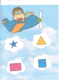 Airplane Themed Shape Match File Folder Game - Preschool, Autism