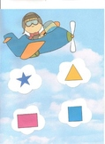 Airplane Themed Shape and Word Match File Folder Game