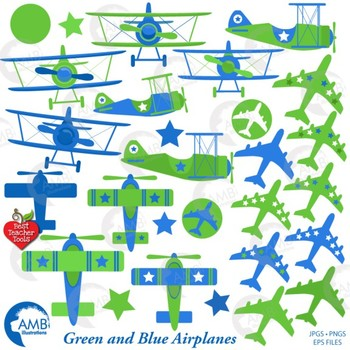 Airplane and Biplane Clipart, Blue and Green, Plane Clipart, Jet, AMB-2270