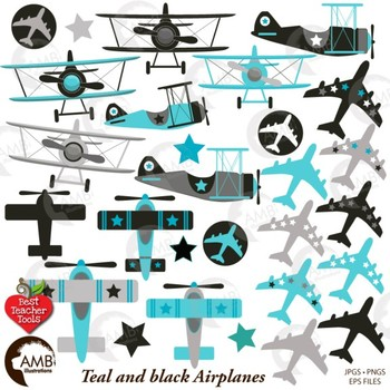 Airplane and Biplane Clipart, Teal and Black, Plane Clipart, Jet, AMB-2268