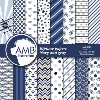 Airplane papers, Biplane planes in Navy Blue {Best Teacher Tools}  AMB-2321