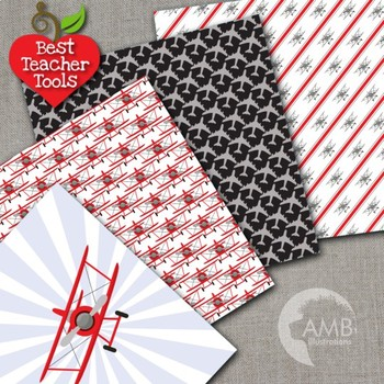 Airplane papers, Biplane planes in Red and Black, {Best Teacher Tools}  AMB-1929