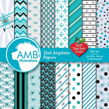 Airplane papers, Biplane planes in Teal {Best Teacher Tools}  AMB-1936
