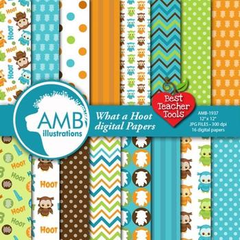 Owl papers, Owl papers in Teal, Orange, brown {Best Teacher Tools}  AMB-1937