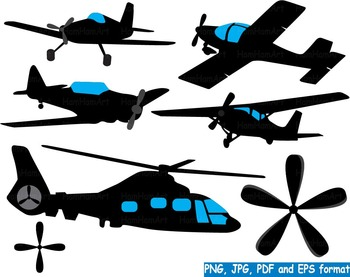 Airplanes Silhouette Clip art black military helicopter Aircraft cute plane -153