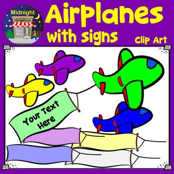 Airplanes With Signs Clip Art