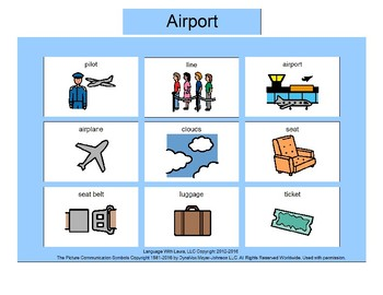 Airport Bingo! Single Board [speech therapy and autism]