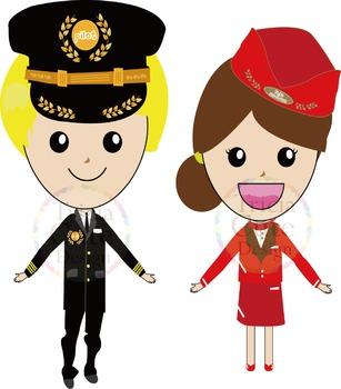 Airport Crew Clipart - Pilot, Flight Attendant, Ground Crew, Immigration Officer