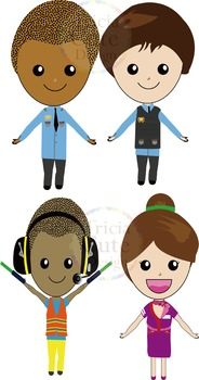 Airport Crew Clipart - Pilot, Flight Attendant, Ground Crew, Immigration Officer