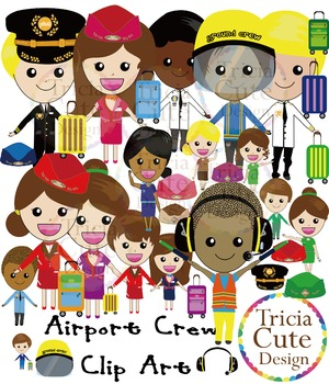 Airport Crew Clipart - Pilot, Flight Attendant, Ground Cre