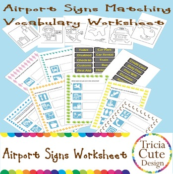 Airport Signs Matching Vocabulary Worksheet