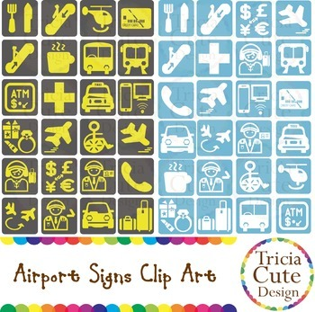 Airport Clipart: Airport Signs for Travel, Vacation, Airplane, Transportation