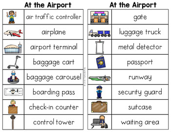 Airport Words List - Writing Center