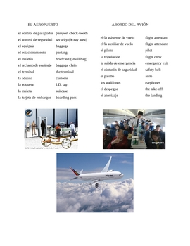 Airport and Airplane (Spanish Notes/Vocab List)