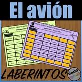 Airport and Airplane Vocabulary Mazes in Spanish
