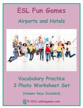 Airports & Hotels 3 Photo Worksheet Set