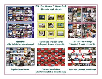Airports and Hotels 6 Board Game Bundle