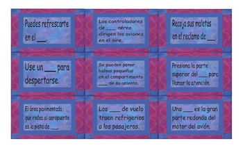 Airports and Hotels Spanish Card Game