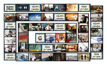 Airports and Hotels Spanish Legal Size Photo Board Game