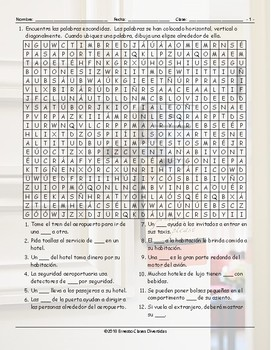 Airports and Hotels Spanish Word Search Worksheet