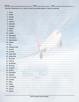 Airports and Hotels Translating Spanish Worksheet